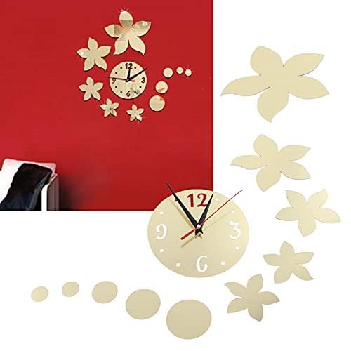 Wosune Etiqueta engomada de la Pared en Forma de Flor, Etiqueta engomada Adhesiva de la decoración del Fondo para el Cuarto de baño para el hogar(Dorado)