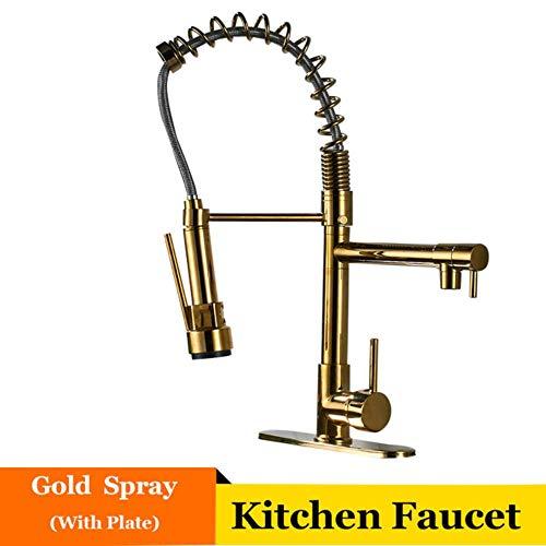 5151BuyWorld waterkraan, goud, keukenkraan, springhendel, koude- en warmmengkraan voor gootsteen armaturen, montage Type B