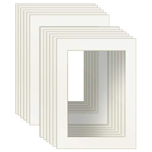 Dreamsyard 5x7 White Picture Mats with Core Bevel Cut Frame Mattes for 4x6 Pictures- Pack of 12