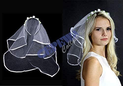 Unbekannt Hochzeit-Schleier mit Haarreif Brautschleier weiß JGA Fasching