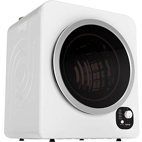 hOmelabs Compact Laundry Dryer - Front Loading Portable Dryer with Big Window and Stainless Steel Drum - Mini Dryer with 5 Drying Programs, Adjustable Exhaust Vent, and Multilayer Filtration - White