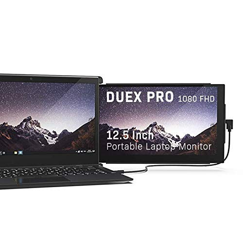 Duex Pro Upgraded Portable Monitor 12.5' Full HD IPS Display USB A/Type-C Powered Dual-Screen Monitor, Anti Glare Brightness Adjustable Screen (Duex Pro Only)