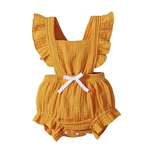 Body Infantil para bebés, bebés recién Nacidos con Volantes Mamelucos sin Mangas Mono Trajes Ropa (90cm (12-18meses), Naranja)