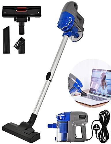 Aspiradoras, Aspiradoras con cable, Potentes 700W 14Kpa 3 en 1 Upright/Handheld Hoover, Ligero sin bolsa, Compacto, para suelo duro, alfombra, pelo de mascotas, coche, hogar, azul