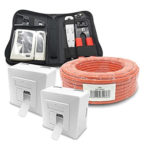 ARLI CAT 7 25m Verlegekabel Netzwerkkabel CAT.7 + 2X Netzwerkdose Cat6a + 1x Werkzeugset Crimpzange Abisoliermesser Tester Netzwerk Werkzeug Set 4 in 1 S/FTP CAT7 PIMF Kabel AWG23/1 Ethernet 25 m