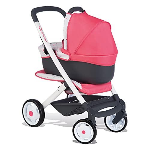Smoby 253198 – Quinny 3in1 Multifunktions-Puppenwagen Rosa - für Puppen bis 42 cm – wandelbarer Puppenwagen für unterschiedliche bedürfnisse im Quinny-Design, für Kinder ab 3 Jahren