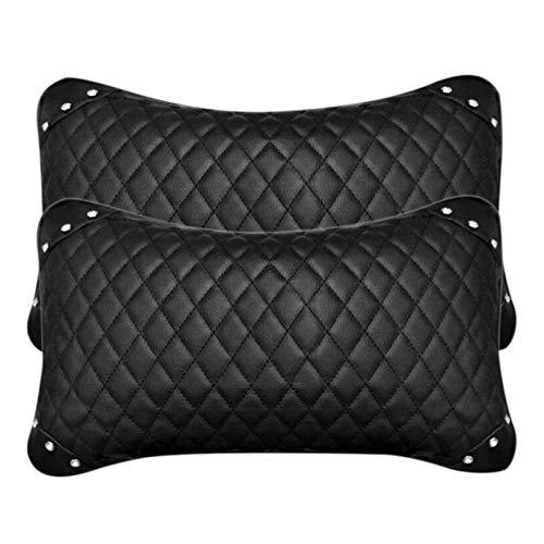 Almohada de cuello de asiento de cuero almohada de asiento de coche transpirable reposacabezas cojín reposacabezas auto coche almohada de seguridad negro asiento cuello almohada (dos)