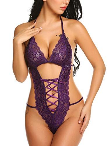 Avidlove Women Teddy Lingerie Deep V Halter Lace Babydoll Mini Bodysuit Slutty Lingerie Purple Large