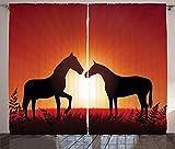 ABAKUHAUS Rural Cortinas, Caballos de la Silueta en la Puesta del Sol, Sala de Estar Dormitorio Cortinas Ventana Set de Dos Paños, 280 x 175 cm, Bermellón Sello Brown