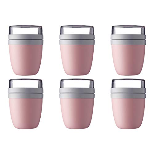 Mepal 107648076700 Ellipse Lunchpot to go 500 ml & 200 ml, nordic pink (6er Pack)