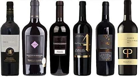 6er Probierpaket Primitivo di Manduria | 6 x 0,75 L. | Rotwein aus Apulien | trocken