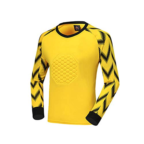AIALTS Football Goalkeeper Uniform Jersey Sets Adult Soccer Goalkeeper Costume Kid Padded Protective Anti-Collision Shirts And Shorts,Orange,XS