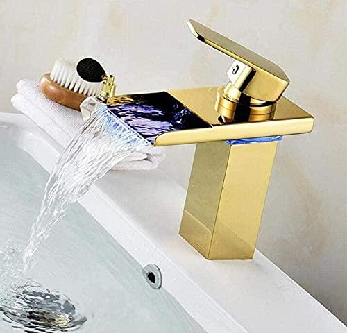 Grifo del lavabo grifo del lavabo del baño grifo led lavabo blanco grifo de cascada de un solo orificio grifo de oro rosa caliente y frío grifo del fregadero grifo del fregadero