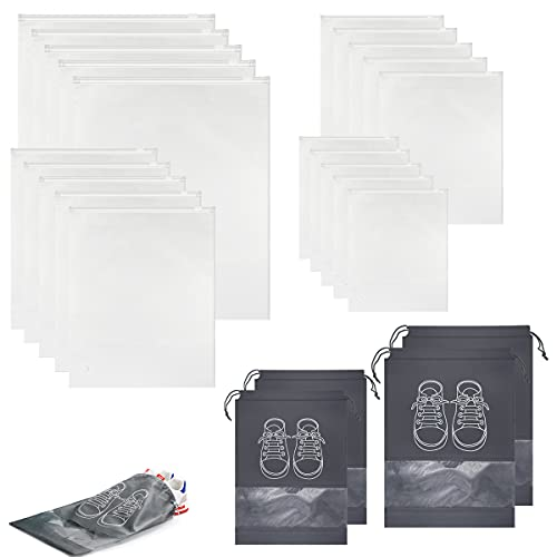 24PCS Travel Luggage Organizer Set with Shoe Bags,Sorting Packing Zipper Pouch for Suitcase,Clothes and Accessories Translucent Bag for Storage