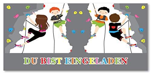 monteblago Einladungskarten Einladung zum Geburtstag Kletterhalle Klettern Bouldern Free-Climbing Blanko - 8 Stück Sport Kindergeburtstage für Jungen oder Mädchen Kletterpark