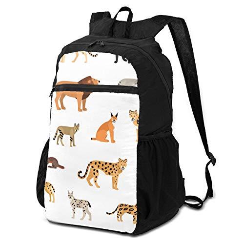 Zaino da viaggio per escursioni, elegante e perfettamente modello, con animali selvatici su animali bianchi, zaino da viaggio ripiegabile, leggero, impermeabile, per uomini e donne