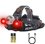BORUIT Headlamp with Red Light, RJ-3000 Headlamp 5000 lumens White and Red LED...