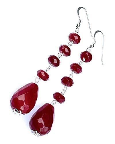 Pendientes de jade roja y plata 925, pendientes largos colgantes, joyas de piedras naturales, regalo para mujer