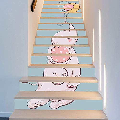 Behang QUANFANG 13 Stuk Baby Olifant Ballon Nordic Kinderkamer Decoratie Trappen Stickers Mode Creatieve Trappen Decoratie Art Decor Wanddoek 18 * 100cm