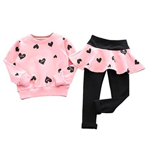 LMMVP Bébé Ensemble de Vêtements, Enfant Filles Coeur d'amour Pull à Manches Longues + Pantalons Jupe Costume Sportif Polyester (130(5-6T), Rose)