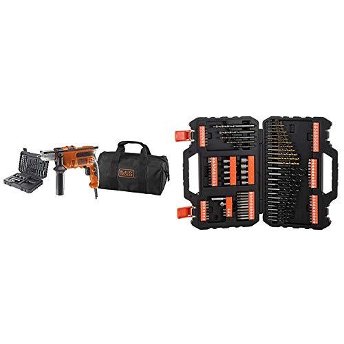 Black+Decker KR714S32-QS Taladro percutor 710 W con 32 accesorios y bolsa de transporte + BLACK+DECKER A7200-XJ - Juego de 109 piezas para atornillar y taladrar
