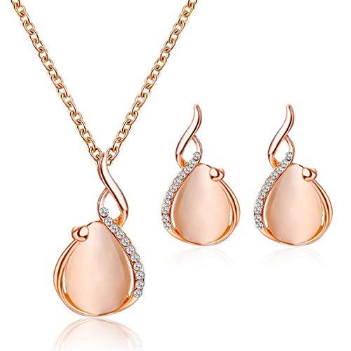 Juego de joyas Rose Oro Color Colgante Collar Pendientes Joyas nupciales Conjuntos (Color : 1)