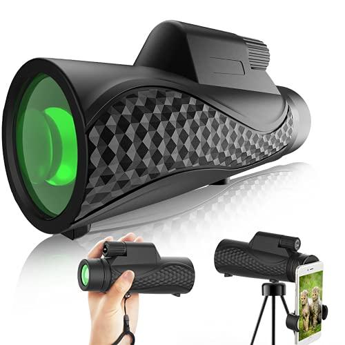SaponinTree Telescopio Monocular, 12X40 HD FMC BAK4 Impermeable Monoculo Telescopio Portatil con Adaptador de Soporte para Smartphone y Trípode, para observación de Aves, Senderismo, Caza, Camping