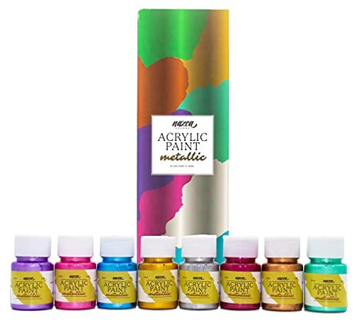 Set Pintura Acrílica Metálica para Cuadros y Manualidades Nazca Colors - Pack 8 Colores x 30 ml - Acrílicos Metalizados Multisuperficie ideales para Pintar Lienzos, Madera, Piedras, Arcillas, Uñas