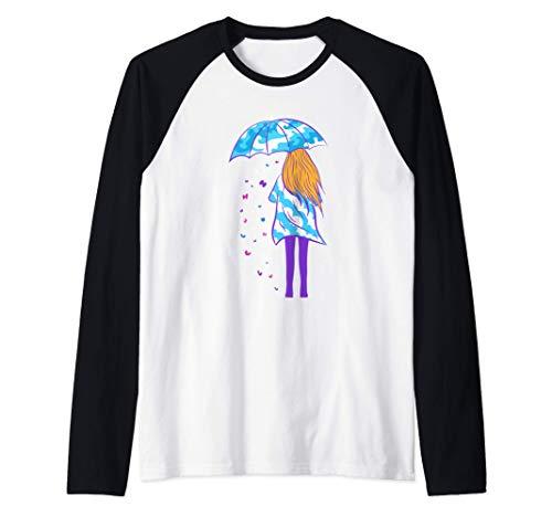 Chica con paraguas nubes olas mariposas arte Camiseta Manga Raglan