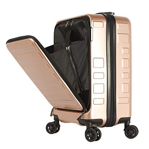 フロントオープン スーツケース 機内持ち込み キャリーバック キャリーケース SSサイズ 軽量 TSAロック 115cm ファスナータイプ BASILO-129 前ポケット (ピンクゴールド)