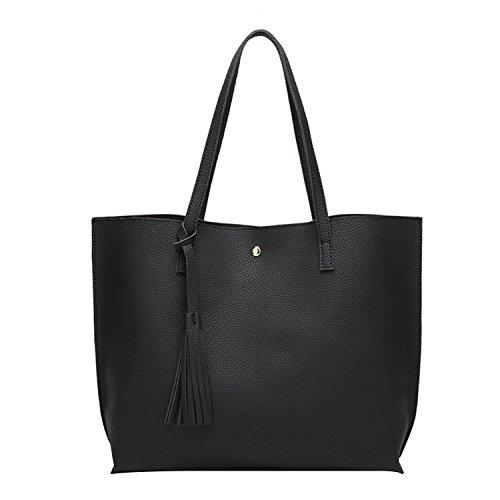 PB-SOAR Damen Mädchen Fashion Shopper Schultertasche Schulterbeutel Henkeltasche Handtasche Einkaufstasche aus Kunstleder 36x30x11cm (B x H x T) (Schwarz)