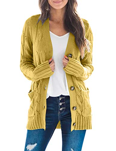 MEROKEETY Women's Long Sleeve Cable Knit Sweater Open Front Cardigan Button Loose Outerwear Mustard