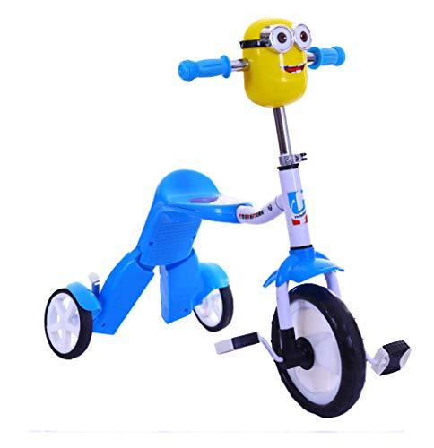 Driewieler, 2-in-1 multifunctionele driewieler voor kinderen, vervormbare balansauto, tweeërlei gebruik, 2-6 jaar oude baby-driewieler voor buiten,Blue