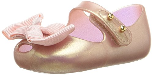 mini melissa Baby-Girl's My First Mary Jane, Metallic/Pink, 3 M US Infant