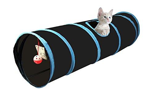 Cosy Life® Katzentunnel mit Spielzeug/Spieltunnel für Kleintiere / 86 x 25 cm/Farbe : Schwarz-Blau