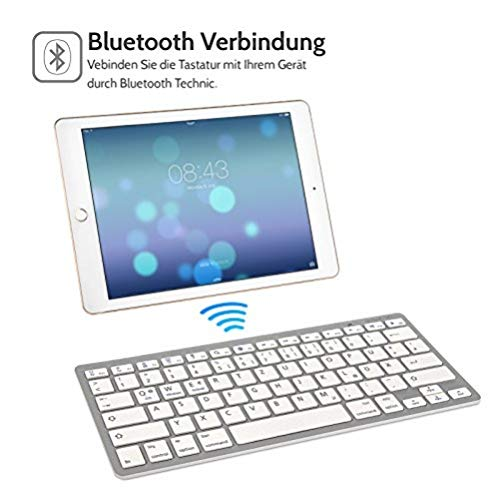 Caseflex Duitse lay-out draadloos Bluetooth toetsenbord voor alle iOS, iPad, Android, Mac, Windows apparaten - ultradun zilver & wit
