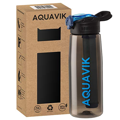 AquaVik Portable Water Filter Bottle for Survival, Travel, Camping, Hiking, Hunting, Outdoor and Daily Use, Home & Office. Filtered Water Bottle is BPA Free and Leakproof. 22oz Water bottle with filter