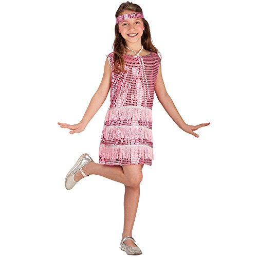 Carnival Juguetes 68022 - traje de Charleston niños con banda para el cabello, 8-9 años, rosa