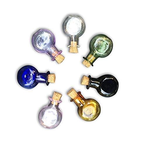 Mini botellas de cristal de color con corcho, regalo de boda, botellas de regalo, hecho a mano, frascos de corcho, mezcla 7 colores (7 / lot)
