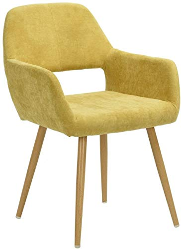 MEUBLE COSY Fauteuil Salon, revêtement en tissu jaune et pied en métal imitation bois, Chaise de Bureau Ergonomique, Chaise de Salle à Manger Capitonnée