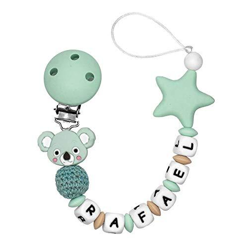 RUBY - Chupetero Personalizado Para Bebé con Nombre Bola Silicona Antibacteria con Koala de Silicona Alimentaria (Koala Menta)