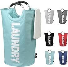 DOKEHOM 82L Large Laundry Basket (6 Colors), Collapsible Fabric Laundry Hamper, Foldable Clothes Bag, Folding Washing Bin (Light Blue, L)