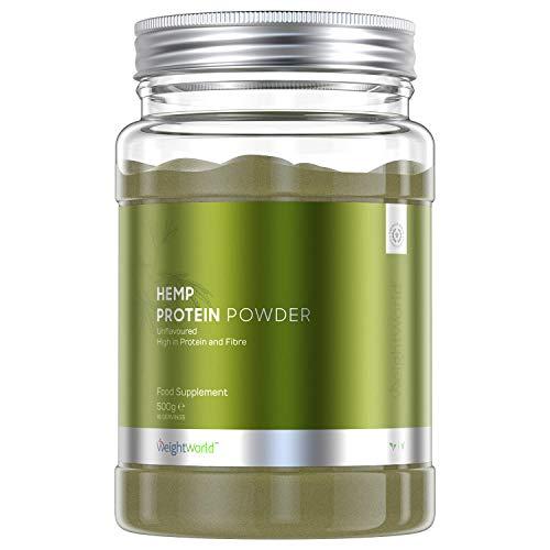 Proteína Vegana de Cáñamo en Polvo Natural | Suplemento Deportivo Recuperador Muscular | Con Omega 3 y 9 Aminoacidos Esenciales | Para Aumentar Masa Muscular | Sin Gluten ni Lactosa | WeightWorld