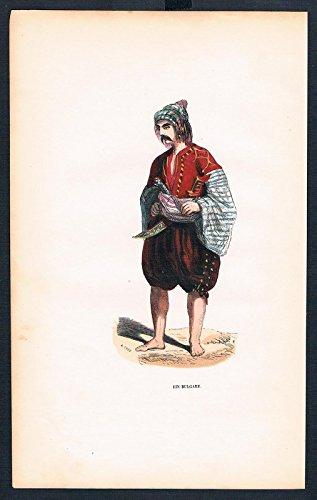 Bulgare Bulgarien Bulgaria Tracht Trachten costumes Graphik handkoloriert