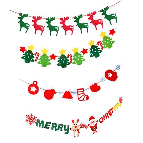 Abaodam 4 banderines de fieltro no tejidos de Navidad, para colgar en la pared, decoración de Navidad (ciervo, letra de ciervo, diseño de árbol de estrella)