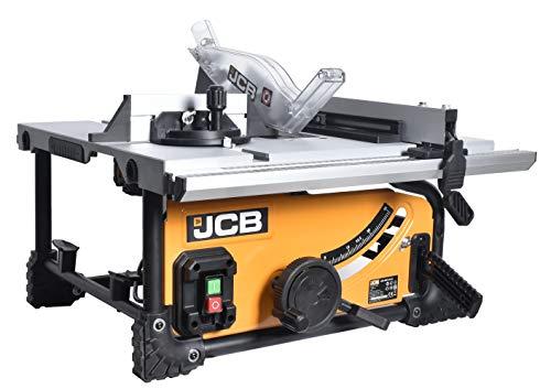 JCB Profi Tischkreissäge 210JS (1500W, HM Sägeblatt 210 mm, Schnitttiefe 50-70 mm, Schnittwinkel 45-90 Grad, Sägeblattschutz, Parallelanschlag, Tischverbreiterung, Schiebestock)
