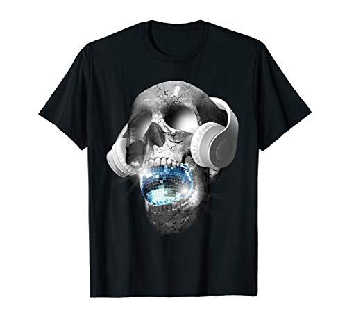 EDM Urban DJ hip hop skull streetwear headphones graphic tee T-Shirt