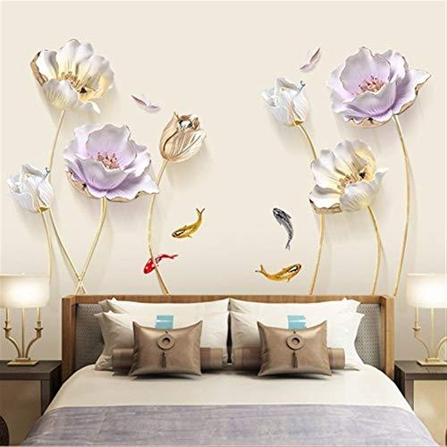 NBKLSD 180 * 110 cm tulipán Etiqueta de la Pared de la Mariposa de la Flor 3D Pegatinas extraíble Salón Dormitorio Baño Decoración Decoración Poster (Color : A B Set 180X110CM, Size : Large)