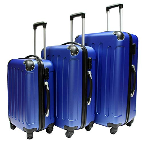 GXK Hard Shell 4 Wheel Spinner Suitcase Luggage Case Trolley Cabin Carry On PC (Color : Set of 3)