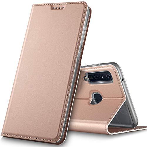 Verco Handyhülle für Galaxy A9 [2018], Premium Handy Flip Cover für Samsung Galaxy A9 Hülle [integr. Magnet] Book Case PU Leder Tasche, Rosegold